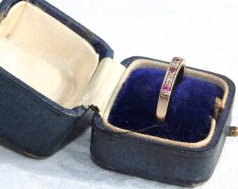Vintage Pre-Loved 9ct Yellow Gold Diamond & Ruby Half Eternity Ring 9 carat 9 K