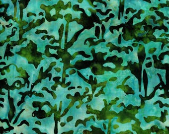 RJR Blossom Batiks 3098 4 Teal Green With Dark Accents By The Yard