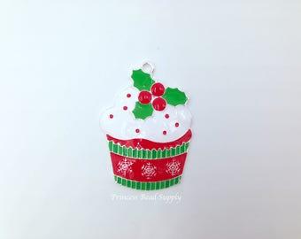 Christmas pendant etsy christmas cupcake enamel pendant for chunky necklaces christmas pendant 45mm winter pendant christmas aloadofball Images