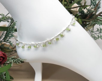 Peridot With Pearls Anklet, Lt Green Gemstone Anklet In Sterling Silver, August Birthstone Anklet, 9-10.25 Inches, Peridot Jewelry