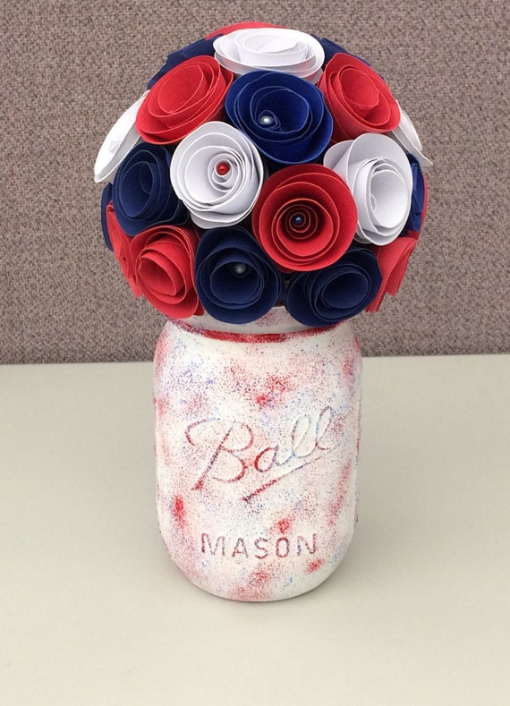 Rustic Red White and Blue Paper Flower Bouquet: Hand Painted