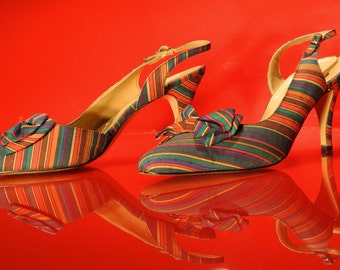 VTG 50's DeLiso Striped Slingback Heels - Pinup Perfect (Sz 9 - 9.5)