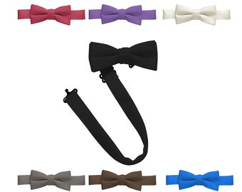 Hold'Em Bow Tie Boys kids and Baby Satin look Solid Color Adjustable Pre-tied