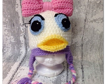 """MADE TO ORDER, Crochet """"Cute as a Daisy"""" Duck hat , sizes newborn to Lg. Adult,"""