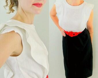 Vintage 70s Black and White Sheath Dress (John Roberts)