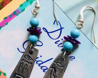 Turquoise and Pewter Hieroglyph Earrings, Egyptian Hieroglyph earrings, Natural turquoise Earrings