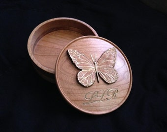 Initialed Butterfly Jewel Box