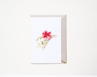 Rose moyesii - Watercolour Floral Greeting Card