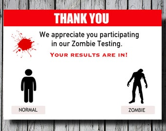 Set of 12+ Zombie Thank You Cards, Walking Dead Thank You Cards, C010