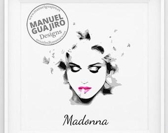 Madonna - minimalist poster - music poster, singer poster, vintage print, home deco, illustration poster
