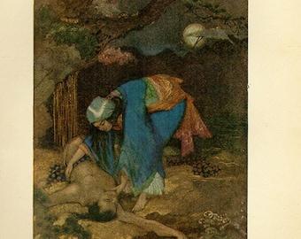 1912, Yuki-Onna, Matsue Rescues Teoyo, Japanese art print, 104 years old Japan, Asian