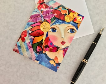 Note card. Art card. Greeting card. Print of original alcohol ink art. Caity's Girls.  Courage.