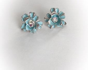 Vintage Coro Blue Flower Earrings Screw Backs Rhinestone Center