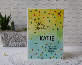 Happy Birthday - Handmade Greeting Card -Customised/Personalised for Birthday /Anniversary /Any Occassion by Pearls N Buttons