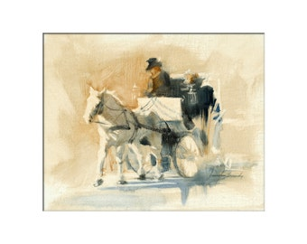 Horse Art - Matted Print of Original Oil Painting - Horses, Carriage, NYC, New York City,  Equine, Equestrian, Animal Lovers, Central Park