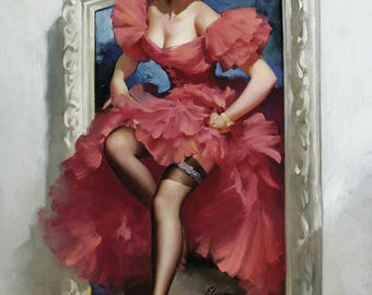Pin Up Girl Art Print Reproduction, stepping out 1953 by Gil Elvgren