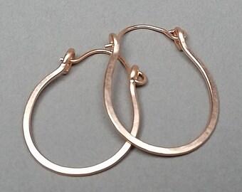 Oval 14K Rose Gold Filled Hammered Hoop Earrings, Hinged Hoops, One Inch Hoop Earrings