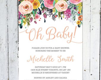 Baby shower invitation girl spring baby shower invitation baby shower invitation girl oh baby spring baby shower invitation floral summer printable printed colorful spring filmwisefo