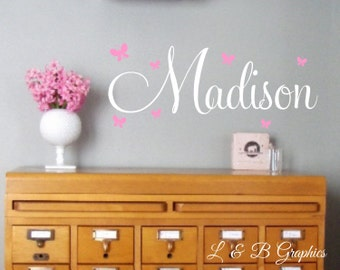 Butterflies Name Wall Decal - Girls Name Wall Decal - Vinyl Wall Decal - Vinyl Lettering - Baby Girl Nursery Wall Decal- Personalized