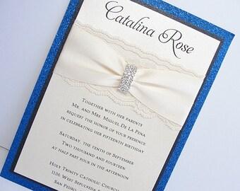 Wedding Invitations, Wedding Invite, Lace Wedding Invitation, Glitter Invite, Sweet 16 Invitations, Quinceanera Invite,  COCO-QUINCE  BLUE