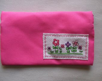 pink pencil case with cross stitch design