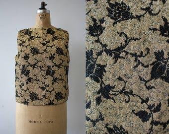vintage 1960s shirt / 60s black gold lurex top / black brocade shell / NYE top / gold lame floral brocade sleeveless top / plus size L XL