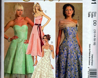 Strapless Evening Dress with Wrap, Halter Evening Gown, A-Line Formal Dress, Size 12-14-16-18, Bust 34-36-38-40, McCalls Sewing Pattern 5001