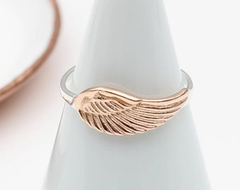 18ct Rose Gold and Sterling Silver Angel Wing (HBR25)