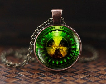 Radiation Hazard Symbol necklace, Radioactive, Chemistry, Physics necklace, Sci Fi, Science necklace, Fallout necklace, mens necklace, m102