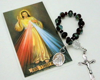 Divine Mercy Catholic Single Decade Chaplet Rosary in Czech Picasso Rondelles with Sterling Silver Crucifix and Medal