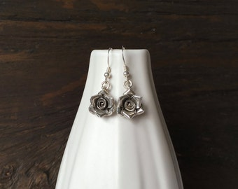 Rose earrings, fine silver earrings, handmade rose earrings, silver rose earrings