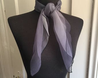Vintage Black Scarf, Chiffon Scarf, 60's Sheer Scarf, Black White Ombre, Nylon Triple Sheer 50's Rockabilly Style, Headscarf, Made in Japan