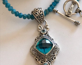 Apatite Necklace-Mystic Quartz Topaz Pendant Necklace-Bali Silver Pendant