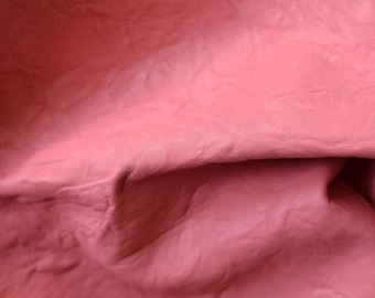 Pink leather hide 80 cm x 40 cm  1,5 mm  Pastel Pink  Bubble Gum Pink Genuine Leather Hide Lamb Sheep Leather Hide b622