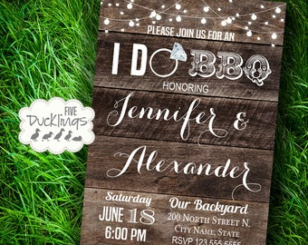 I DO BBQ Invitation, Wood Background, Wedding shower, Printable Digital Invitation, A103