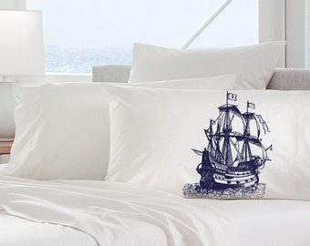 Two (2) Navy Blue Nautical Tall Clipper Ship Sail Boat Pillowcases pillow cover