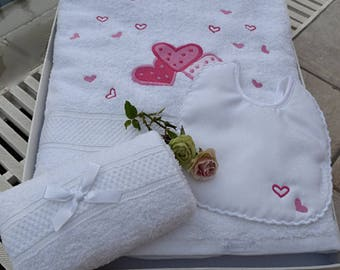 Sweethearts Embroidered Towel and Adorable Sweethearts Bib for Baby Shower-Soft Christening Towel-Baptismal Bib-Perfect Gift for Newborns
