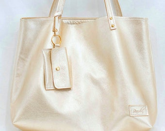 Gold Leather Bag, Metallic Leather Tote with Wallet , Travel Bag, Work Bag - Gold Leather Tote with Tassel - Oversized Leather Tote
