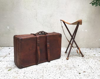 Vintage - mid century leather suitcase leather suitcase