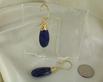 Lapis lazuli briolette gold filled interchangeable oval leverback  earrings handmade gemstone MLMR item 888