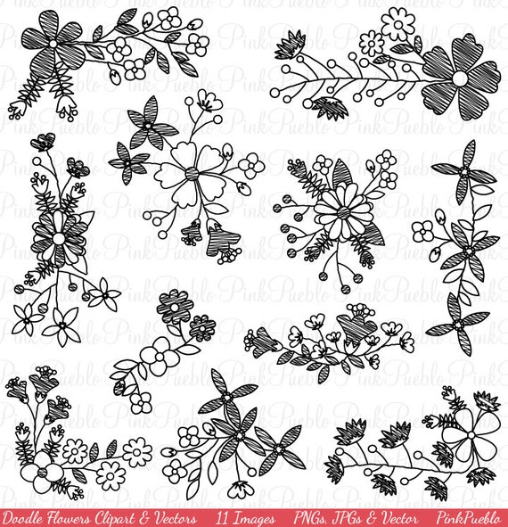 Doodle Flowers Clipart Clip Art Hand Drawn Sketched Flowers