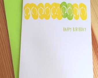 Flip Flops Birthday Card - Beach Birthday Card - Hand Printed Happy Birthday Card - Summer Birthday Card