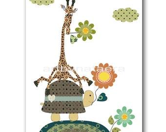 Baby Nursery Decor Art for Children Kids Wall Art Baby Boy Room Decor Baby Boy Nursery Print Baby Art Giraffe Turtle Green Yellow
