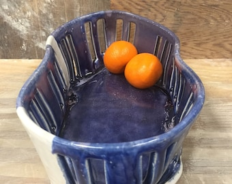 Handmade Pottery Fruitbowl in Purple, Blue, and White