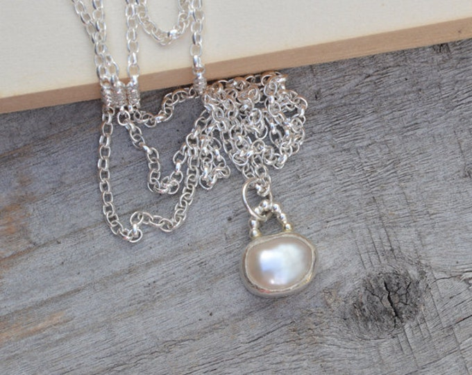 Large Freshwater Pearl Necklace Set In Sterling Silver, Bridal Necklace, June Birthstone, Bridal Pearl Necklace Handmade In England