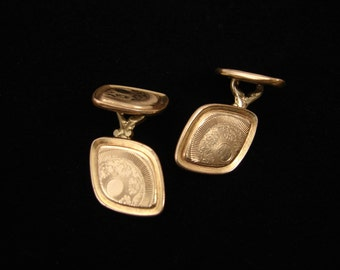 Art Deco Talon Grip Cufflinks, Gold Plated, Floral Design, Etched Cuff Links, Mens Jewelry, Suit Accessories, Vintage Cufflinks