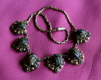 RARE scarab beetle Victorian necklace || 1890s petrified taxidermy insect necklace