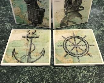 Vintage Nautical Ceramic Tile Coasters