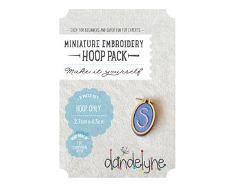 27mm x 45mm OVAL miniature embroidery hoop frame kit - mini hoop frame set ONLY - unique Dandelyne miniature hoop