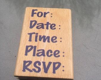RSVP Invitation Rubber Stamp